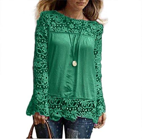 Grün Floral Bluse (Frauen T-Shirt lmmvp Fashion Damen Long Sleeve Shirt Casual Lace Bluse lose Baumwolle Tops,grün,2XL)
