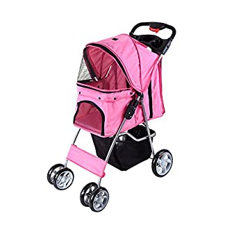 Beshomethings Dog Puppy Cat Pet Travel Stroller Pushchair Pram Jogger Buggy Carrier With 4 Wheels (Pink) 12