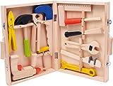 small foot 2079 Werkzeugkoffer 'Lino' aus Holz, mit 12 Spielwerkzeugen von Hammer bis zur Bohrmaschine, ab 3 Jahren