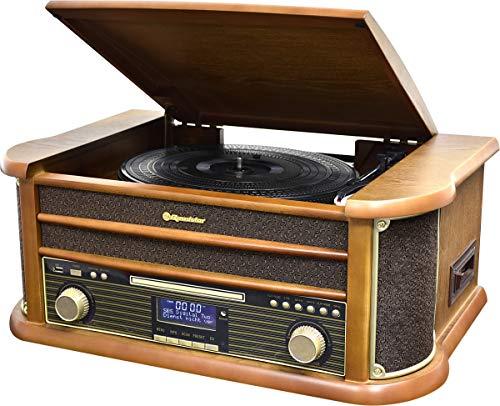 Roadstar HIF-1993 Retro Stereo-Anlage mit Plattenspieler, Kassette, CD-Player, Bluetooth und DAB-Radio (DAB+, CD / MP3, USB, beleuchtetes LCD-Display, Fernbedienung, 80 Watt Musikleistung), braun