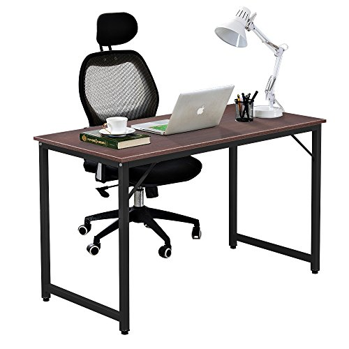DlandHome Computer Schreibtisch 120 * 60 cm Computertisch für Heimarbeitsplatz-Workstation, Walnuss (Walnuss-finish, Schreibtisch)