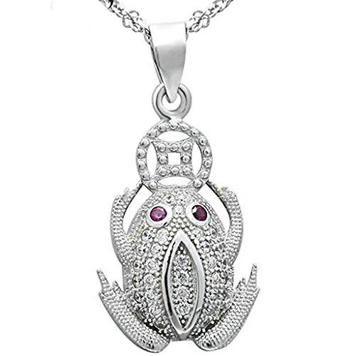 beydodo-anhanger-halskette-damen-silber-925-frog-toad-tier-zirkonia-weiss-kette