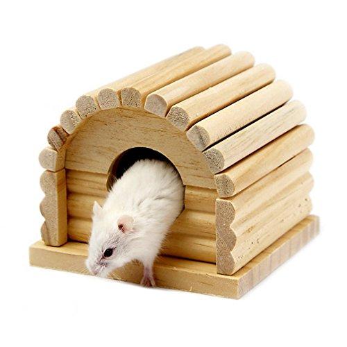 Emours pet piccoli animali criceti topi in legno casa gabbia per criceti hideout giocattoli, piccolo