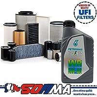 Kit de aceite Selenia WR 5W40 5 litros, 4 filtros Sofima Alfa 147 / GT 1.9 JTD