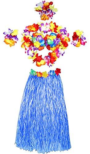 Tanz Modell Kostüm - LAMEIDA 1 Hawaii-Set Rasen Rock Girlanden Halskette Hawaiian Hula Skirt Armband Gras Maskerade Tanz trägt Kleidung Hawaii-Rock für Erwachsene Modelle 60cm (Blau-60cm)