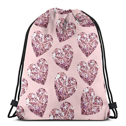Bag hat Bling Pink Heart Deluxe 3D Print Drawstring Backpack Rucksack Shoulder Gym for Adult 16.9