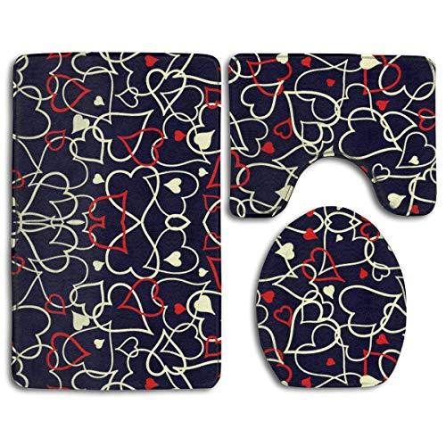 Zengyan Leopard Print Wallpaper Bathroom Rug Mats Set 3 Piece Toilet Carpet Rugs Includes Contour Mat and Lid Cover Non Slip Absorption Mat Machine Wash/Dry Perfect Mats for Tub Shower - Contour Licht Blau Stoff