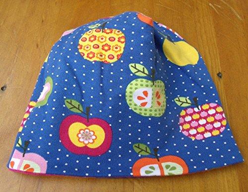 Mütze Babymütze Baby Blumen Retro Mädchen pink Geschenk zur Geburt Mütze für Neugeborene 70er Äpfel Apfel Obst bunt