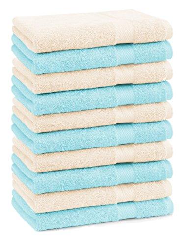 BETZ lot de 10 serviettes débarbouillettes taille 30x30 cm 100% coton Premium couleur beige et turquoise