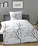 PRIMERA Mako-Satin Bettwäsche (Baumwolle) Baum/ Äste 135x200 + 80x80 cm grau …