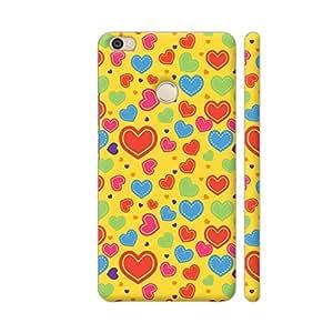 Colorpur Multicolor Hearts Art On Yellow Artwork On Xiaomi Mi Max Cover (Designer Mobile Back Case) | Artist: Designer Chennai