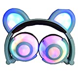 Auriculares Glowing Bear Ear Earphones Led Ear Headphone Cat Headphone Flashing Glowing Headset Auriculares para Juegos para Adultos Y Niños Azul