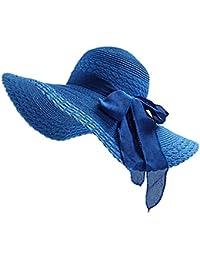 JUNGEN Floppy Chapeau Unisexe Wide Brim Chapeau De Soleil Fashion Voyage Chapeau de Plage idéal pour Vacances Nœud à Deux Boucles Dôme Bleu 1 PCS