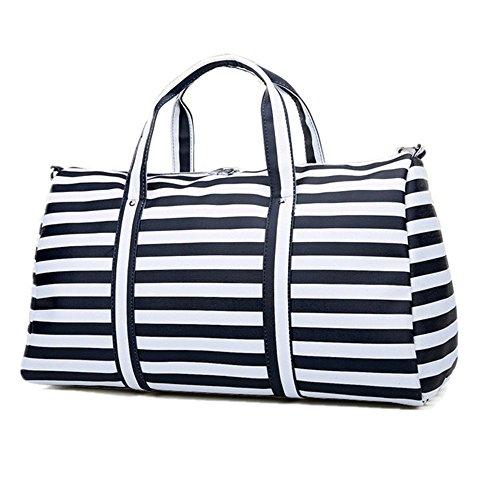 BAOSHA HB-23 Frauen Damen Kunstleder Reisetasche Handgepäck Weekender Travel Duffel Bag Übernachtung Wochenende Tasche Fitness Handtasche mit Gestreift (Schwarz Streifen) Schwarz Streifen