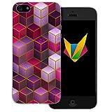 dessana Geometrisch transparente Silikon TPU Schutzhülle 0,7mm dünne Handy Soft Case für Apple iPhone 5/5S/SE Würfel Lila Pink