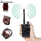 Bug RF-Detector,ZEERKEER Detector Detektor mit sehr hoher Empfindlichkeit, kabelloses Signaldetektor, Anti-Spy Tipps, Ton und Hell Schwarz