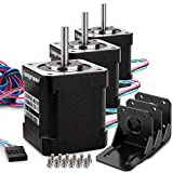Stepper Motor, Longruner 3 Packs Nema 17 Stepper Motor 1.7A 0.59 Nm 84oz.in 48mm Body w/ 1m Cable & Connector for 3D Printer/CNC with Motor Mounting Bracket and 36mm M3 Screws LQD03 ...