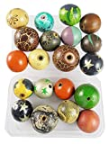 #9: Eshoppee Multi Color Wooden Painted Glass Bead Seed Bead, Beads for Jewellery Making Material kit,Arts end Craft Material for Embroidery do it Yourself DIY kit 20 pcs 25-30 mm