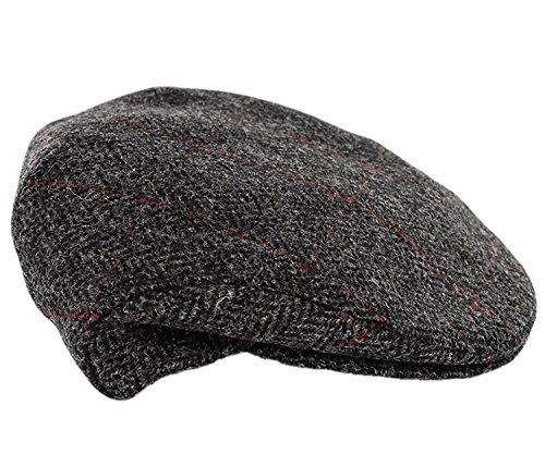 Mucros Weavers Trinity Tweed Flat Cap-Charcoal Herringbone