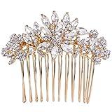 Ever Faith ® Damen österreichische Kristall Marquise Shape Blume Braut Hair Side Comb klar Gold-TonA11939