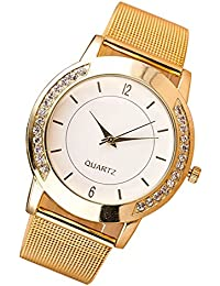 SKY Moda Mujer Cristal De Oro De Acero Inoxidable De Cuarzo Análogo Reloj De Pulsera (Dorado)