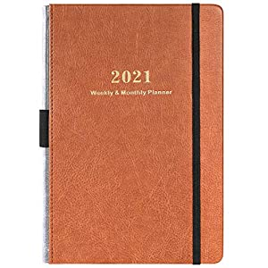 2021 Diary - Weekly & Monthly Planner with Calendar Stickers, from Jan 2021 to Dec 2021, A5 Premium Thicker Paper with Pen Holder, Inner Pocket and 88 Notes Pages