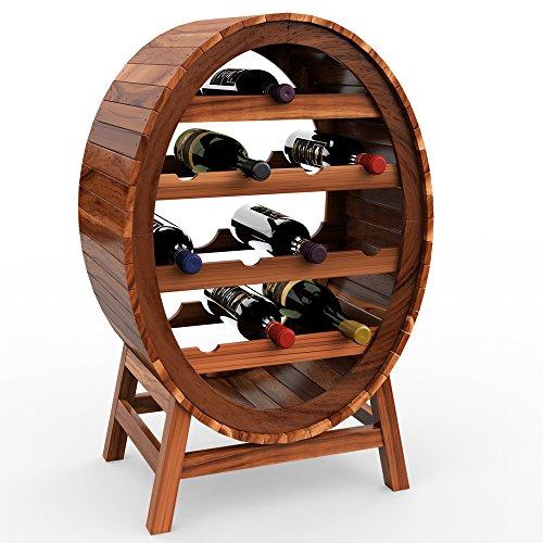 Deuba Weinregal aus Holz für 12 Flaschen Weinfass Design Höhe 90cm - Weinständer Flaschenregal Fass Flaschenständer Vintage