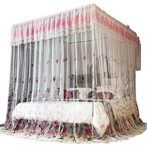 4 Ecken Post Princess Bett Vorhang, Edelstahl Moskitonetz, 3 Einträge, elegante Moskitonetz Baldachin Baldachin für Mädchen Jungen Erwachsene Bett Geschenk QZ-twin-XL (Für Xl Betten Jungen Twin)