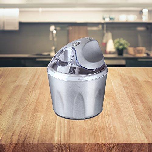 Gelato Eismaschine Silber inkl. Rezeptvorschläge für Speiseeis, doppelwandiger Thermobehälter • Speiseeismaschine • Eisbereiter • Frozen Yogurt • Joghurt • Milchshake • Sorbetmaschine (Silber)