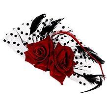 Headwear Nupcial Fascinador De Rosa Roja Flor Clips Puntos Pelo Fuentes De  La Boda 6c4582aa29d