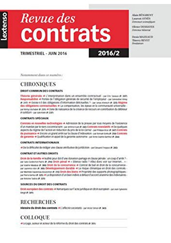 RDC - Revue des contrats N°2-2016
