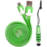 Emartbuy® Duo Packfür Doogee Voyager 2 DG310 / Leo DG280 / Turbo Mini F1 - Grün Metallic Mini Eingabestift + Grün Flaches Knotenfreies Micro USB Daten und Ladekabel