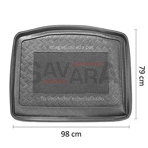 Protector de maletero específico para Ford Focus III 3/5 puertas (2010-) (sin rueda de repuesto completa) - Antiderrames, antideslizante, lavable. Cubeta, alfombra de plástico