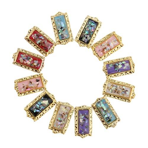 Sharplace 12pcs 3D Nail Art Conseils Tips Sticker en Cristal Strass Paillettes Gemmes Bijoux à Vernis à Ongles Décoration Manucure Outil Pour Costume Saint-valentin - Carré