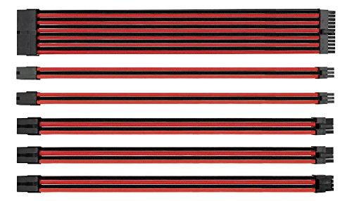 EZDIY-FAB Cavo Prolunga per Alimentatori con Extra Sleeves con 24 Pin 8 Pin 6 Pin 4+4 Pin con Maniche Corte Combs -Rosso Nero