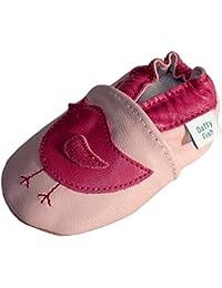 Chaussures de bébé en cuir souple d'oiseau rose, Dotty Fish filles