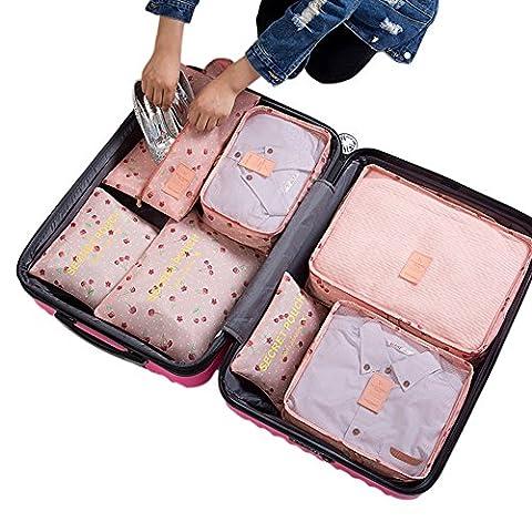 Belsmi Reise Kleidertaschen Set 7-teilig Reisetasche in Koffer Reisegepäck Organizer Kompression Taschen Kofferorganizer Mit Schuhbeutel (Rosa Kirsche)
