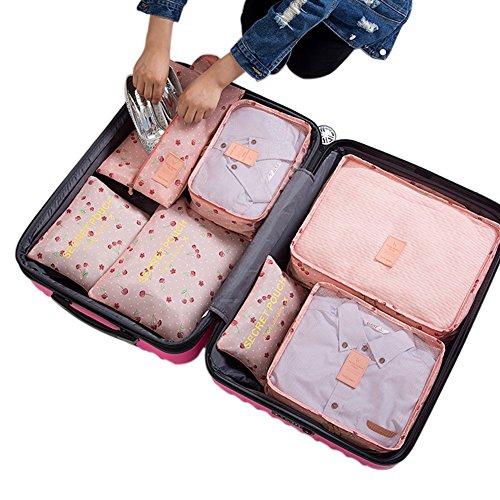 Belsmi Reise Kleidertaschen Set 7-teilig Reisetasche in Koffer Reisegepäck Organizer Kompression Taschen Kofferorganizer Mit Schuhbeutel (Grün) Rosa Kirsche