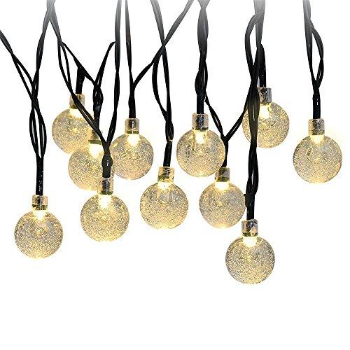 Patiszon stringa solare luce del giardino 30 LED 20 piedi di Natale Globe natalizia sfera di cristallo impermeabile per esterno, patio, giardino, casa, Natale Albero, Party (bianco