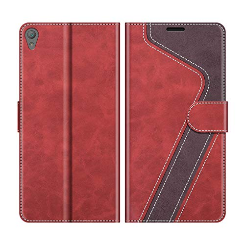 MOBESV Handyhülle für Sony Xperia E5 Hülle Leder, Sony Xperia E5 Klapphülle Handytasche Case für Sony Xperia E5 Handy Hüllen, Modisch Rot
