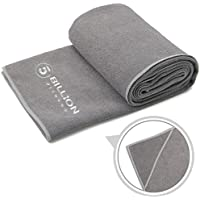 5BILLION Microfibra Toalla de Yoga - 183cm x 61cm - Hot Toalla de Yoga, Bikram Toalla de Yoga, Ashtanga Toalla de Yoga - Antideslizante, Absorbente, de Secado Rápido - con Bolsa de Transporte Gratuita (Gris)
