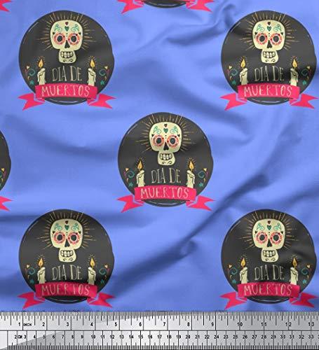Soimoi Blau Kunstseide Stoff Text & Schädel Halloween Dekor Stoff gedruckt 1 Meter 56 Zoll breit