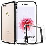 GrandEver iPhone 6/6S Hülle Aluminium Rahmen mit Silikon Bumper + Hart PC Zurück Kombination Transparent Schutzhülle Kratzfeste Handy Hülle für Apple iPhone 6 6S(4.7 Zoll) Handytasche -Schwarz