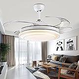 Unsichtbare Decke Ventilator lampe Lüfter-LED eine einfache Art und Weise moderne Ventilator lampe Wohnzimmer Esszimmer Ventilator Lampe mit Licht ausgewählte 50cm Silber licht Fernbedienung