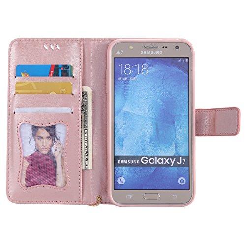Coque Galaxy J7 2015, ISAKEN Coque pour Samsung Galaxy J7 2015 - Peinture Style Lumineux Luminous Etui PU Cuir Flip Magnétique Portefeuille Etui Housse de Protection Coque étui Case Cover avec Stand S Or rose