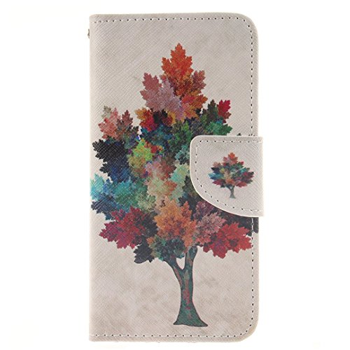 Xf-fly Ledertasche Schutzhülle für iPhone 6 / 6S PU Leder Flip Hülle mit Farbmalerei und TPU Innenschale Standfunktion Kartenfächer Magnetverschluss Knopf für Apple iPhone 6 / 6S (4.7 Zoll) P-2