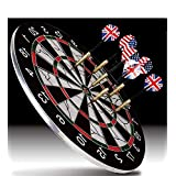Supreme Deals Quality Heavy Metal Wiring Steel Tip Double Faced Flock Printing Thickening Family Game Dart Board with 6 Needle (18 Inch)