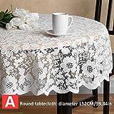 Spitze Tischdecke - handgefertigte Runde Spitze häkeln Tischdecke, Runde Tischdecke elegante Blumenmuster - dicke Jacquard Beige rechteckige Runde Tischdecke Tischset Tischdecke (152cm -183 183cm)