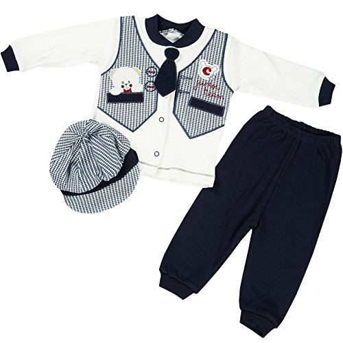 Süße Jungs Kleidung (Kinder Baby Jungen Kleidung Paket Set 3 tlg Hose Lang Arm Shirt Mütze 21714, Farbe:Navy, Größe:3 Monate)