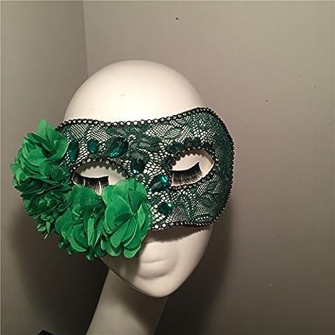 HUAXI Pizzi a mano su misura, eleganti e verdi fiori di strass maschera, maschera di palco spettacoli, mascherina del partito, festa maschera